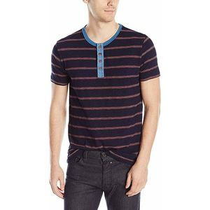 Lucky Brand Short Sleeve Striped Henley Shirt
